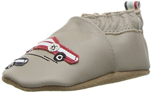 Soft Soles Race Car - Robeez Boys' Elephant Eddie Loafer, Race You Pale Grey, 0-6 Months M US Infant