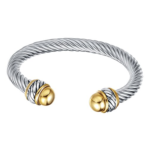 UNY Fashion Jewelry Brand Cable Wire Retro Antique Bangle Elegant Beautiful ()