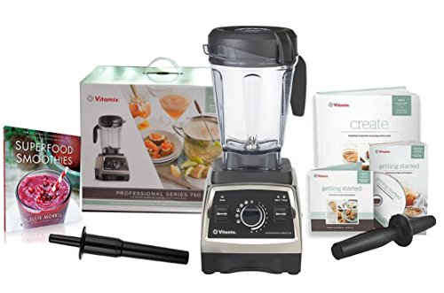 Brushed Stainless Finish - Vitamix Professional Series 750 Blender (1944) with Superfood Smoothies: 100 Delicious, Energizing & Nutrient-dense Recipes Book and Two Accelerator/Tamper Tools (Brushed Stainless Finish)