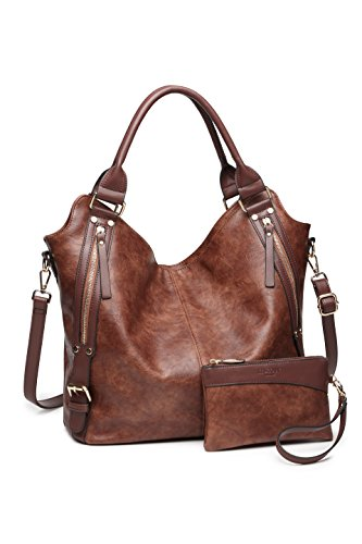Women Tote Bag Handbags PU Leather Fashion Hobo Shoulder Bags with Adjustable Shoulder Strap (Brown) - Hobo Dark Brown Handbags