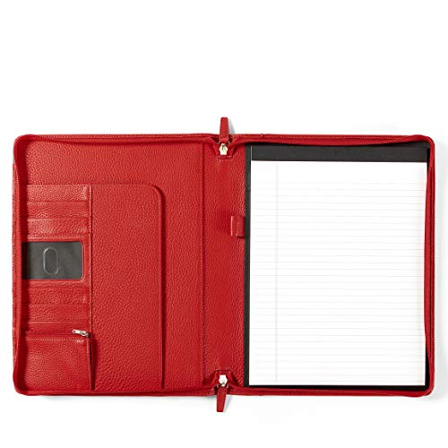 Leatherology Classic Zippered Padfolio - Full Grain Leather Leather - Scarlet (red)