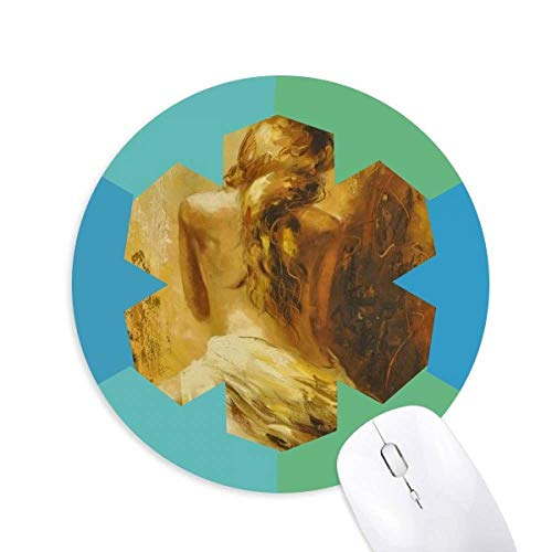 l Pretty Gal Round Rubber Blue Snowflake Mouse Pad ()