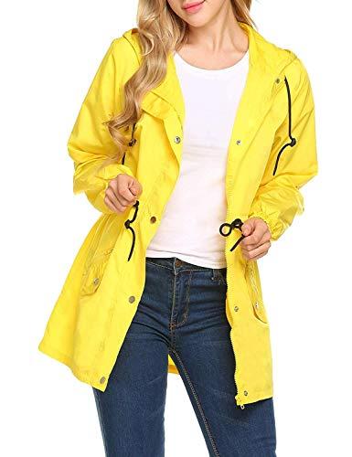 Respirable Capucha Sólida La De Basic Con Hx Gelb Chaqueta Funcional Ropa Bolsillo Lazo Gabardina Mujeres Impermeable Color Y Lluvia Fashion Las Del El YqwHtx7