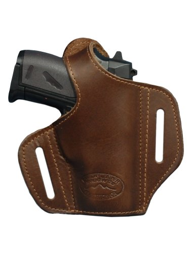 Barsony Brown Leather Pancake Gun Holster for Taurus TCP 738 .380 Right