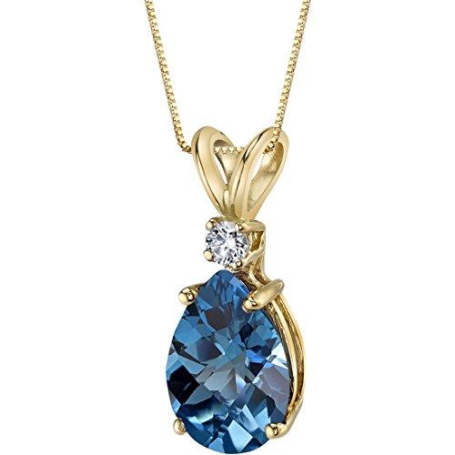 - 14 Karat Yellow Gold Pear Shape 2.00 Carats London Blue Topaz Diamond Pendant