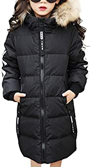 OCHENTA Girl's Jacket with Faux Fur Collar Hooded Puffer Winter Coat Age of