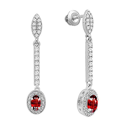 Dazzlingrock Collection 10K 6X4 MM Each Oval Garnet & Round Diamond Ladies Halo Dangling Drop Earrings, White Gold