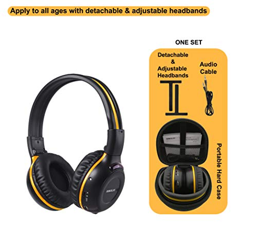 1 Pack of Vehicle Headphone, Support Car DVD Player, Car Headphone for Rear Entertainment System, Durable and Flexible for Kids, Wireless Infrared Headphone with 3.5mm AUX Cable