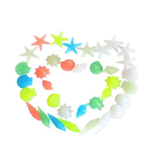 Gosear 1 Set DE 30 Piezas Caracol de Concha de Mar Estrella Kit de Resina Sintética Luminosa para Acuario Pecera Ornamento...