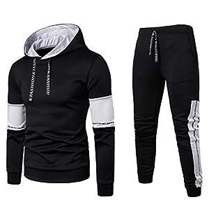 2019 Men's Jogging Tracksuit Patchwork Sportswear Casual Joggers Set Hoodie Sweatshirt+Jogger Sweatpants by-Leegor