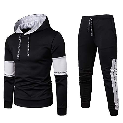 Men's Sportswear Suit,AmyDong Long Sleeve Hooded Sweatshirt Patchwork Sweater Fashion Autumn Winter Top Pants Sets Black ()