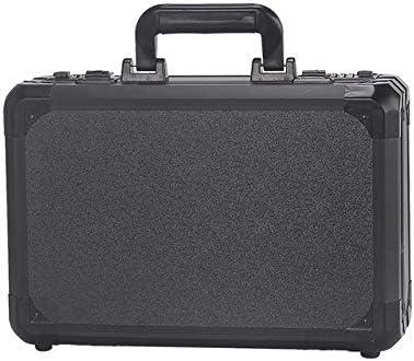 プレカットフォーム裏地付きツールボックスポータブルアルミ合金収納ケーススーツケース旅行耐衝撃性、安全楽器ケース (Color : Black)