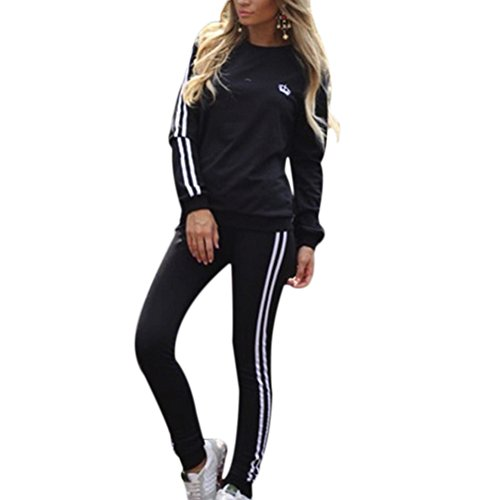 YNYNEW Women Fashion Long Sleeve Pullover Sweatpant Tracksuits (Black, US 2-4/Asia M)