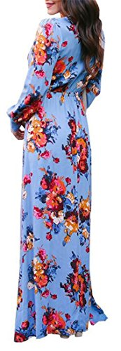V Fashion Jaycargogo Neck Long Blue Split Floral Womens Sleeve Dresses PpwgqEx