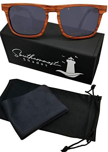 Natural Wood Sunglasses for Men - Wooden Frame - Genuine Polarized Lenses (Rosewood - Dark ()