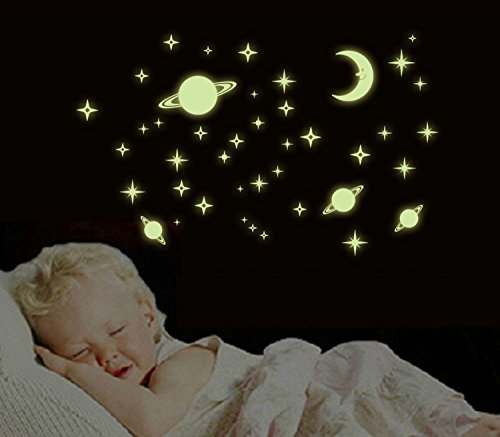WONZOM Glow In The Dark Fluorescence Stick Decals Home Decor Wall Stickers For Kids Room Planet Moon Stars by WONZOM