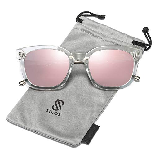 (SOJOS Classic Square Polarized Sunglasses Unisex UV400 Mirrored Glasses SJ2050 with Transparent Frame/Pink Mirrored Polarized Lens)