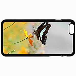 Customized Cellphone Case Back Cover For iPhone 6 Plus, Protective Hardshell Case Personalized Butterfly Black