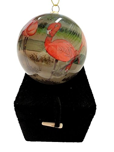Art Studio Hand Painted Blown Glass Tropical Flamingo Christmas Ornament, Painted From the Inside