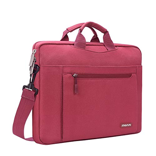 MOSISO Shoulder Bag Compatible 13-13.3 inch Laptop with Foam Bubble, Wine Red