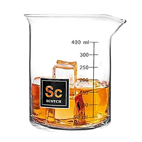 Drink Periodically Set of 2 Laboratory Beaker Bourbon Rocks Glasses-16oz each