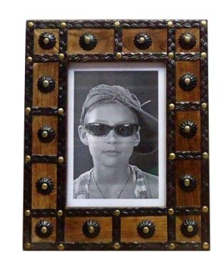 Carved Frame - Aheli Vintage Wooden Single Tabletop Picture Photo Frame Holder Stand Hand Carved and Studded Design Home Decor