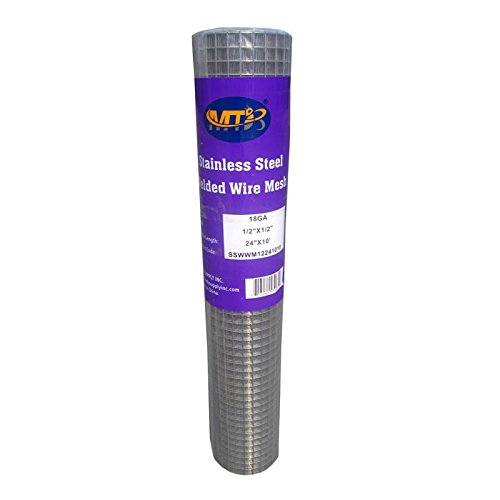 MTB SS304 Stainless Steel Welded Wire Mesh 24 inches x 10 feet- 1/2 inch x 1/2 inch Mesh 18GA(1.2mm) by MTB Supply