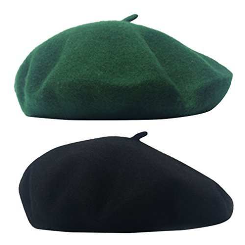 Army Fancy Dress (AIYUE Women Men French Beret Wool Warm Beanie Hat Solid Color Artist Painter Fancy Dress Costumes Black/Army Green)