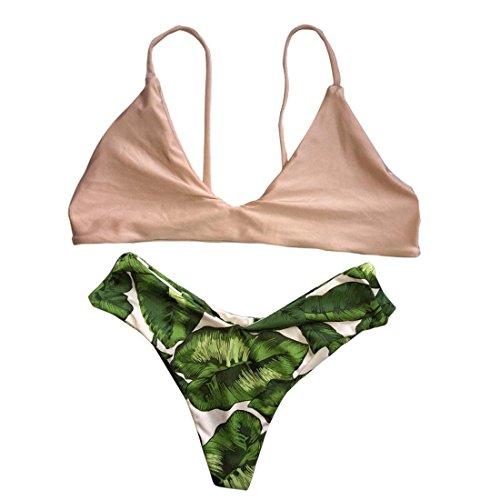 Vertvie Femme 2 Pièces Plage Bikini Set Maillot de Bain Imprimé Feuille Beachwear Rétro Push Up Soutien-gorge Rembourré V Profond BasTriangle