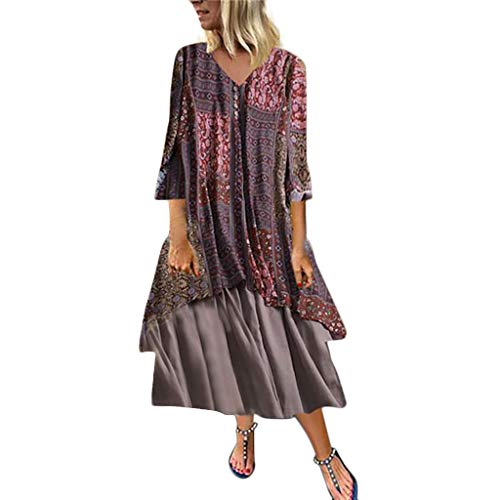 TUSANG Women Skirt Vintage Floral Print O-Neck Patchwork Dress Long Sleeve Long Dress Loose Flow Comfy Dress(A-Red,US-10/CN-XL)