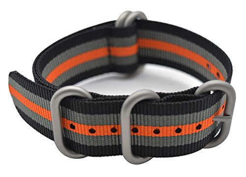 ArtStyle Watch Band with Colorful Nylon Material Strap and Heavy Duty Brushed Buckle (Black/Grey/Orange, 20mm) Photo #4