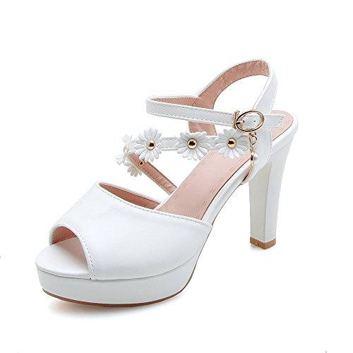 Mei&S Bloque de Mujer Tacones Peep Toe Sandalias White