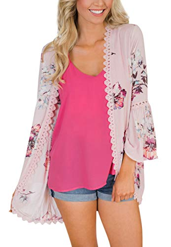 Blouse Légère Kimono Dentelle Femmes Rose Floral 2 Veste Walant Manches  Boho Casual Cardigan Top En ... ba3761eee20