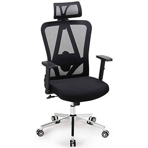 Yaheetech Ergonomic/Executive Office Chair Mesh Fabric High Back Swivel Computer/Desk Chair with Adjustable Headrest/Arms & Lumbar Support on 5 Star Casters Wheels Black