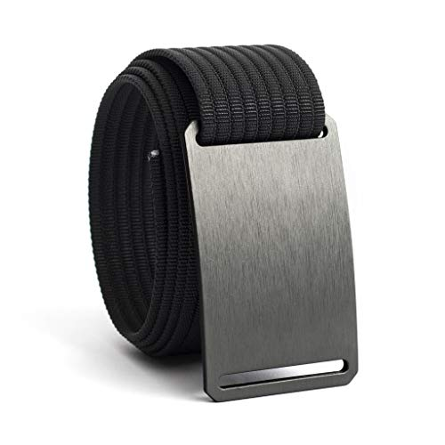 GRIP6 Adjustable No Holes Men's Belt (34, Gunmetal w/Black)