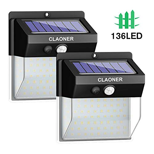 CLAONER 【136 LED/3 Modes】 Solar Lights Outdoor Wireless Solar Motion Sensor Light with 270° Wide Angle Easy-to-Install IP65 Waterproof for Front Door, Yard, Garage, Fence (2400LM 2 Pack)