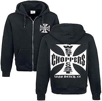 Motorcycle Zip Up Hoodie Iron Cross Hooded Sweatshirt for Men