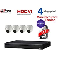 Dahua 4MP Tribrid Security Package: 4CH 4MP Tribrid HCVR7104 (CVI AND IP and Analog ) w/1TB Security Hard Drive + (4) 4MP Outdoor HDCVI WDR IR HDW2401 3.6MM Eyeball (NO LOGO OEM Local Support)
