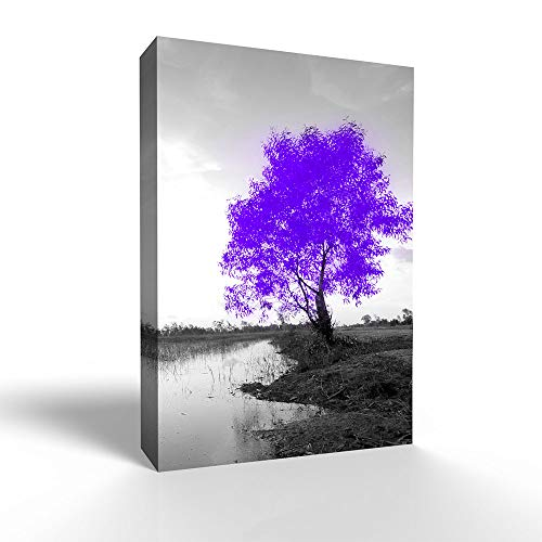 Blue and Black Abstract Colorful Tree Painting Wall Bedroom Living House