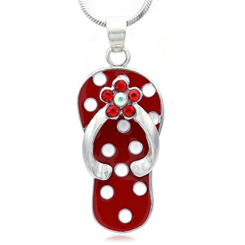 Beach Sandal Charm - SoulBreezeCollection Flip-flop Beach Sandal Necklace Charm Pendant White Black Spot Summer Jewelry (Red)