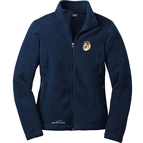 (Cherrybrook Dog Breed Embroidered Ladies Eddie Bauer Fleece Jacket - X-Small - River Blue - Collie)