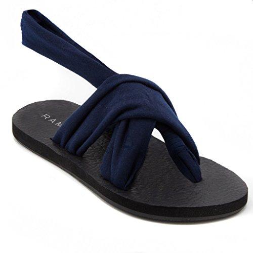 Rampage Womens Rio Slingback Yoga Mat Sandal 9 Navy - Navy Sling