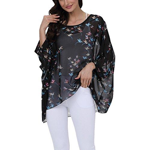 oboss Women Boho Chiffon Striped Floral T-Shirt Tops Casual Batwing Blouse Hippie Semi Sheer Loose Shirt (Flamingos) - Ladies Semi Sheer T-shirt