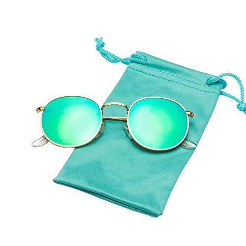 LianSan Classic Retro Metal Frame Round Circle Mirrored Sunglasses for Men and Women Glasses 3447 Green Glass Lenses (Mirrored Sunnies)