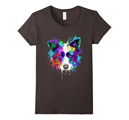 Womens Splash Art Border Collie T-Shirt | Border Collie Owners Gift Small Asphalt