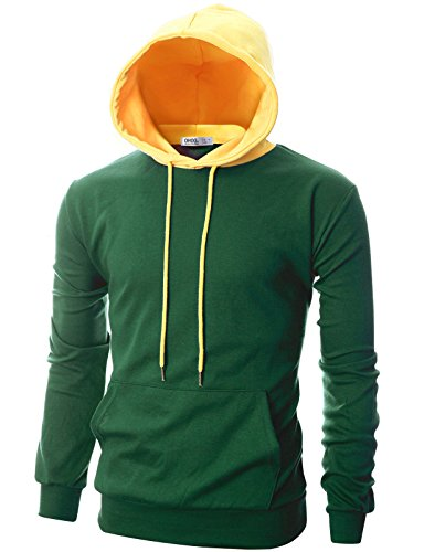 - OHOO Mens Slim Fit Long Sleeve Lightweight Hoodie Combination with Kanga Pocket/DCF020-GREEN/YELLOW-L