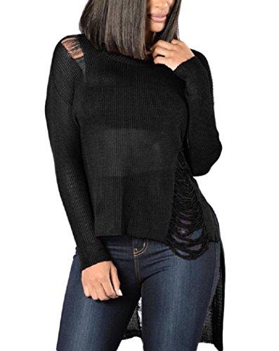 IF FEEL Women's Black Sheer Knit Tangled Long Tail Sweater ((US 4-6)S, Black)