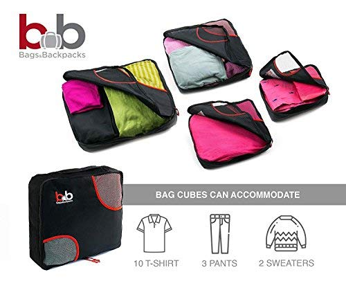 5 Set Travel Packing Cubes 4 Luggage Packing Organizers with Laundry Bag