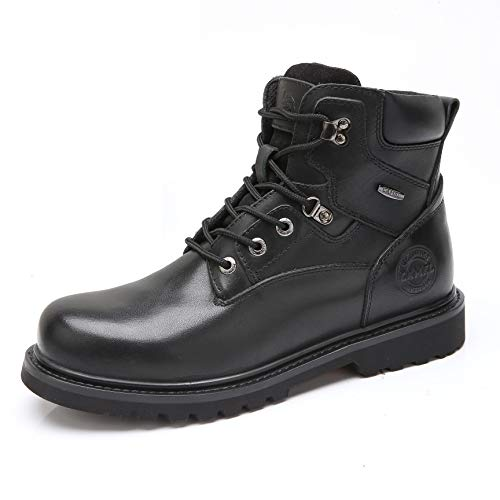 Camel Men's Black Work Boots Steel Composite Genuine Leather Combat Motorcycle Sneakers Safety Toe Ankle Boots for (Steel Toe Mens Ankle Boot)