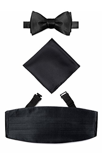 Black Self Tie Bow Tie Black Silk Cummerbund Set